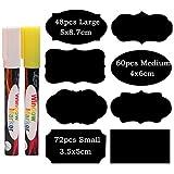 GUIFIER 180 Pezzi Etichette Lavagna Kit - Etichette di Lavagna Adesiva Etichette Impermeabili Adesivi Lavagna Etichette Riutilizzabili con 2 Pennarello a Gesso Liquido Etichette