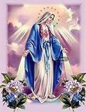 QIAOYUE Dipingi con i Numeri Madonna Figura Religiosa Cristo Adulto e Bambini Kit di Pittura Fai-da-Te Pittura per Principianti Tela prestampata (40X50 cm) (Senza Cornice)
