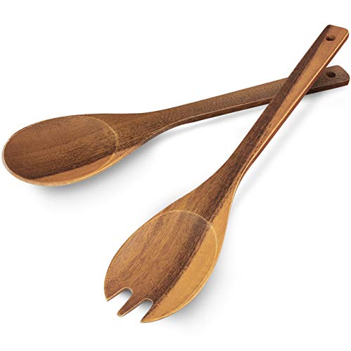 AIDEA Salad Tongs, Salad Spoons and Fork Wood Salad Serving Utensils 12Inch for Tossing and Serving