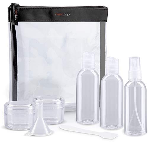 nex|trip Kulturbeutel Transparent + Behälter für Flüssigkeiten Handgepäck - Kosmetiktasche durchsichtig für Flugzeug - Reiseset Kosmetik Beutel