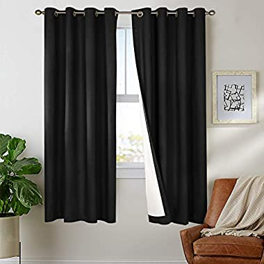 Blackout Curtains Black 63 inch Bedroom Window Curtain Thermal Insulated Drapes One Panel Grommet Top