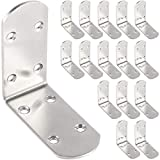 KEILEOHO 16 PCS 90 Degree 3.2 x 3.2 Inch L Corner Brace, Stainless Steel L Bracket, Right Angle Bracket Fastener, Joint Fixation and Reinforce Frame for Wood, Chair, Window, Furniture, Cabinet