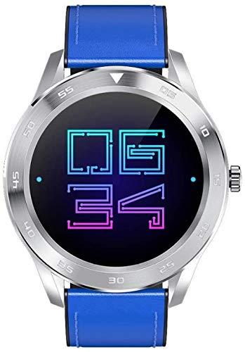 Reloj Inteligente Ip68 Impermeable Inteligente Bluetooth Reloj de Llamada de 1.3 Pulgadas de Pantalla de Alta Definición Reloj Inteligente de Uso Diario/Plata Acero Azul Cuero