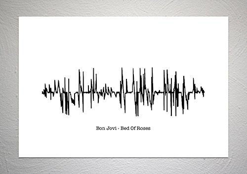 Bon Jovi - Bed of Roses - Geluid Wave Song Art Print - A4 formaat