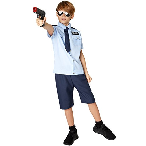 TecTake dressforfun Jungenkostüm Police Boy   Cooles Hemd mit Police-Aufnäher   Bequeme, Kurze Hose   Inkl. Krawatte mit Gummizug (140 (9-10 Jahre)   Nr. 301494)