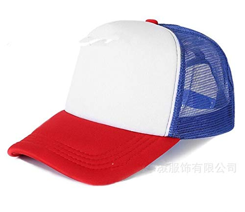 Polister Hombres Mujeres Gorra de bisbol Malla Snapback Imprimir Logo Sombrero de Camionero-Red and White blue-1-48-52(Kids)