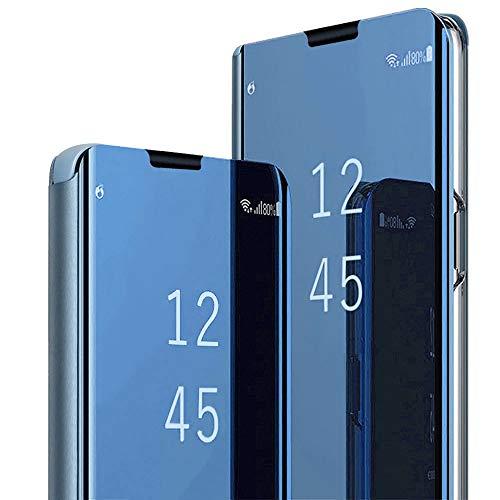 Custodia per Samsung Galaxy C9 Pro, custodia a specchio Kickstand case traslucido flip cover Slim Fit PU rigida cover cover non slip Bumper cover per Samsung Galaxy C9 PRO Blu Taglia unica