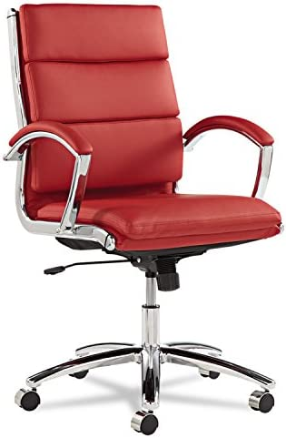 Best Alera Neratoli Series Mid-Back Swivel/Tilt Chair, Red Soft Leather, Chrome Frame