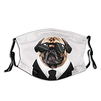 Dog Pug With Drawn Suit Face Mask With Filter Pocket Washable Face Bandanas Balaclava Reusable Fabric Mask For Men Women