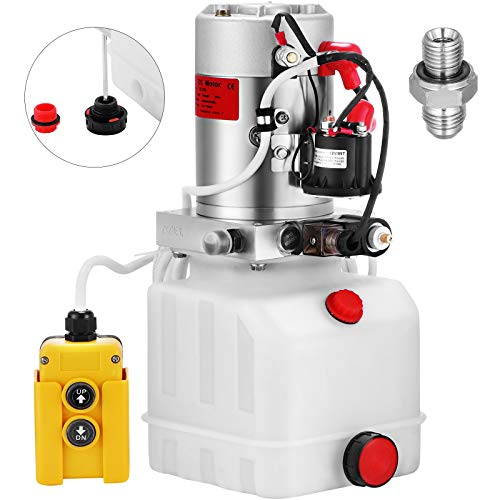 VEVOR 4L Hydraulikpumpe Nenndrehzahl, 2850R / MIN Hydraulikaggregat Einfachwirkend, Kipperpumpe, Hydraulikaggregat, hydraulik pumpe mit Tank aus Kunststoff 4,5M Kabelfernbedienung