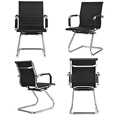 Giantex Conference Chair Set of 4 Heavy Duty PU Leather W/Protective Arm Sleeves and Sled Base Office Chair for Waiting Room,Conference Room,Guest Reception Guest Chairs (4 Pack, Black)