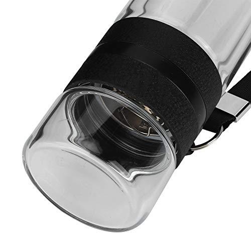 Botella de vidrio doble, plástico de calidad alimentaria no tóxico e insípido, botella de agua con infusor de té, diseño doble al aire libre para agua helada, té y café