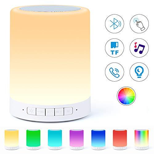 Nachttischlampe mit Bluetooth-Lautsprecher lampe,Touch-Nachtlicht mit Bluetooth-Musiklautsprecher, dimmbare RGB Farbwechsel, tragbare Lautsprecher mit Stimmungslicht, beste Geschenke für Kinder