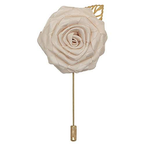 Guiping Broche de rosas de satén para boda, ramillete de boda, novio, aleación de oro, flores artificiales para novia, color marfil, tamaño: 4,5 cm de ancho