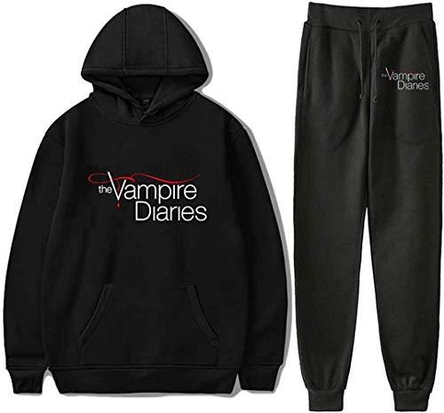 The Vampire Diaries Sweatshirt Zweiteiliges Set Trainingsanzug Hoodies + Jogger Hose Streetwear & Pants Herren Sets Gr. 46, Schwarz