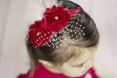 Christmas Baby Headband with Birdcage Veil Gift for baby