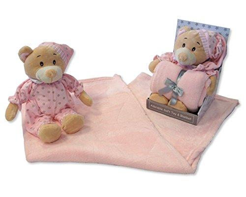 Bébé Fille Rose doux Ours en peluche en pyjama et couverture – Livré dans une boîte cadeau de