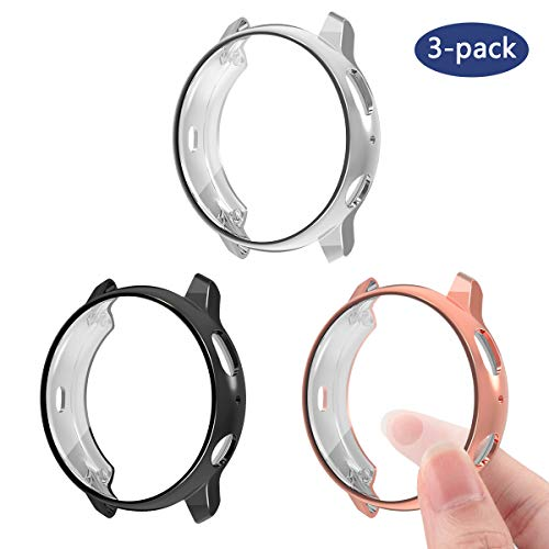 3 Pack Compatible Samsung Galaxy Watch Active2 40mm 44mm Screen Protector Case Cover,YiJYi Ultra Slim Soft Full Coverage Bumper[Sractch-Proof] Protection (Black,Silver,Rose Gold, Active2 44MM)