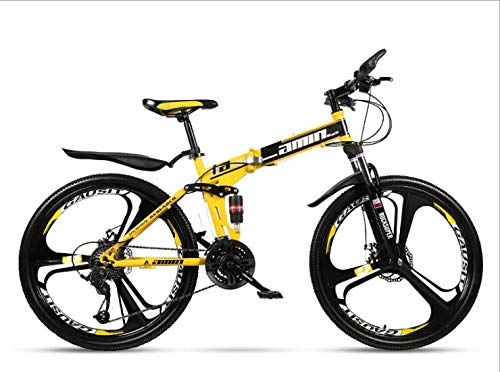 COUYY Double Shock 26 inches Yellow, Mito Folding Mountain Bike Wheels, Double disc Mountain Bike Bicycle Adult Male and Female Students,30 Speed