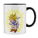 Okiwoki - Tazza con manico e interno di colore (nero) – Parodie Dragon Ball Super – Sangoku Super Saiyan – Super grande Commissione Caca.Rot – Tazza di alta qualità – stampata in Francia