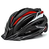 Victgoal Bike Helmet with Visor LED Taillight Insect Net Padded Road Mountain Bike Cycling Helmet Lightweight Cycle Bicycle Helmets for Adult Men and Women (Black Red)
