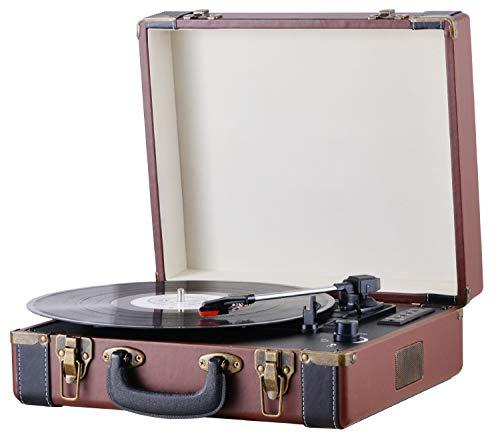 Plattenspieler Koffer | Schallplattenspieler | Turntable | Nostalgie Retro Plattenspieler im Koffer | Vinyl Player | Kofferplattenspieler | AUX IN | integrierte Lautsprecher |