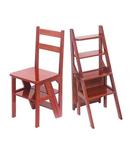 HJW Praktische Schritt Hocker Kleiner Sitz Shoe Bar Ining Restaurant Stufenleiter Stuhl Tische Und Stühle Faltschritts 3 Tier Holz Leiter Ark Nutbrown Massivholzstuhl Ladder