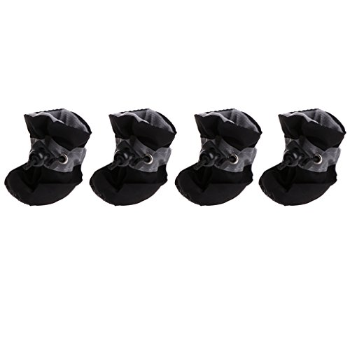 Lyguy huisdier hond huisdier schoenen, waterdichte hond schoenen regen sneeuw laarzen rubber anti-slip schoenen voor kleine hond puppy zwart 6,5 cm