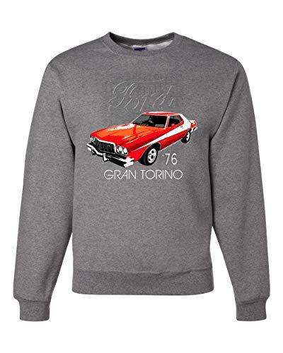 1976 Classic Retro Ford Gran Torino Muscle Car | Mens Cars and Trucks Crewneck Graphic Sweatshirt, Heather Grey, Large