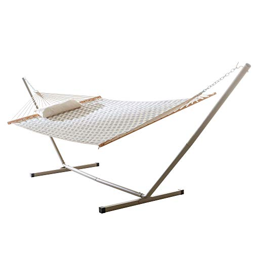 Castaway Living Large 2 Person Quilted Hammock with Heavy Duty Space Saving Stand & Detachable Pillow, Designed in The USA, Heavy Duty Construction, Perfect for Any Backyard Space - Chevron