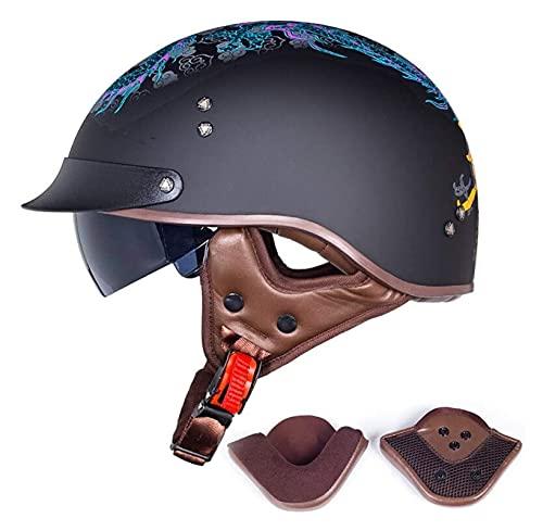 Cascos Half Helmet Half casco Motocicleta Jet Casco Casco Certificado Retro Harley Abierto Facial Helmet Piloto para abrir el casco facial Interposición Espejo Cruise Cruise Overshaler Skateboard Casc