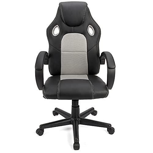 BlueOcean Furniture Sedia da gaming da ufficio Sedia da scrivania ergonomica girevole per computer in pelle PU traspirante tessuto regolabile in altezza comoda sedia per casa ufficio