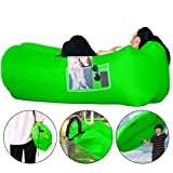 Honsky Inflatable Couch Lounger with Pillow: Cool Waterproof Anti-Air Leaking Air Sofa, Blow up Chair Hammock for Outdoor Camping Beach, Green