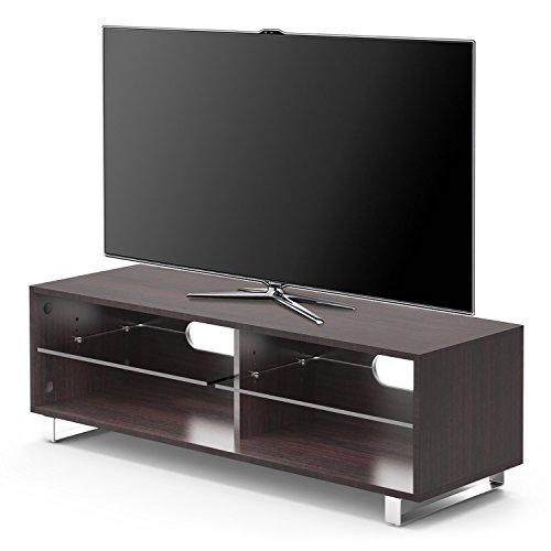 """1home TV Supporto Porta di Vetro Mensola di Vetro di Rivere e Noce Fino a 55 """" a Schermo Piatto LCD LED"""