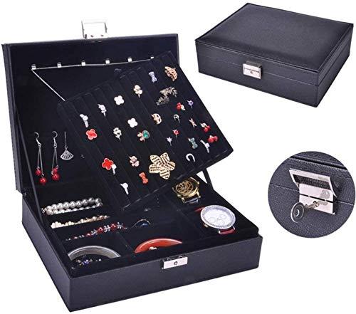 XHCP Joyero organizador doble de cuero, caja de almacenamiento, caja de almacenamiento, caja de exhibición con cerradura de color negro, pulsera de pendientes, collar y caja de almacenamiento