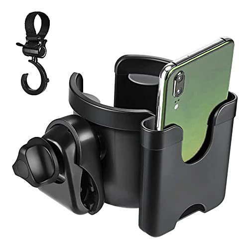 Lictin Stroller Cup Holder Universal - Baby Cup Holder for Pushchair Bottle Holder Pram Parent Cup Holder with Phone Holder Design,1 Hook and 1 Buggy Clip for Strollers, Bike