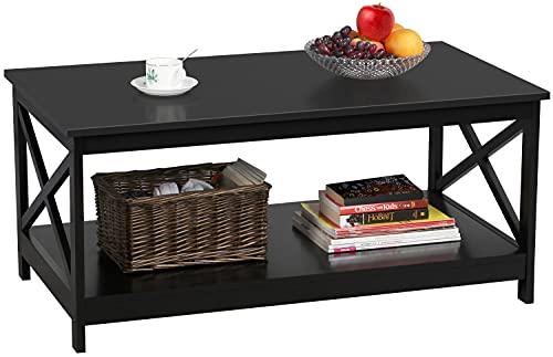 Yaheetech Tavolino da caffè Tavolino Basso da Salotto 100 x 55 x 45 cm Tavolo da Divano a 2 Ripiani Moderno Portaoggetti in Legno Grande da Soggiorno Nero