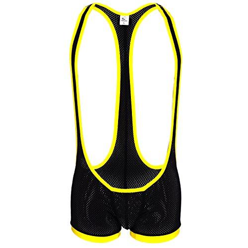 Sport Mesh Bulge Wrestling Suit - Durchsichtiger Herren Netz Body mit Front Beutel schwarz XS/S