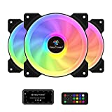 Easythreed 120mm RGB PC Computer Cooling Case Fan, Wireless 6-Pin LED Case Fans, Adjustable ARGB Colorful with Fan Control Hub, High Airflow Quiet Fans for Gaming PC, Pack of 3