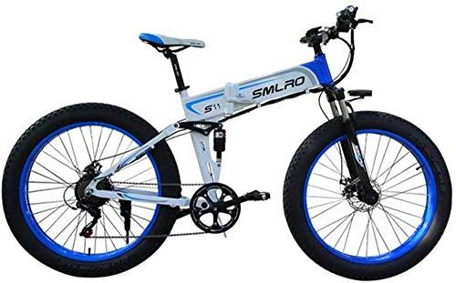 Fangfang Bicicletas Eléctricas, Bicicleta eléctrica Plegable de la montaña asistidos de Motos de Nieve Adecuado for Deportes al Aire Libre 48V350W batería de Litio, Azul, 48V10AH,Bicicleta