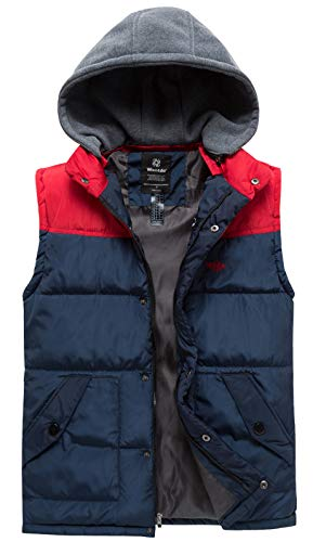 Wantdo Men's Winter Warm Cotton Lined Sleeveless Jacket with Pockets Navy Red L