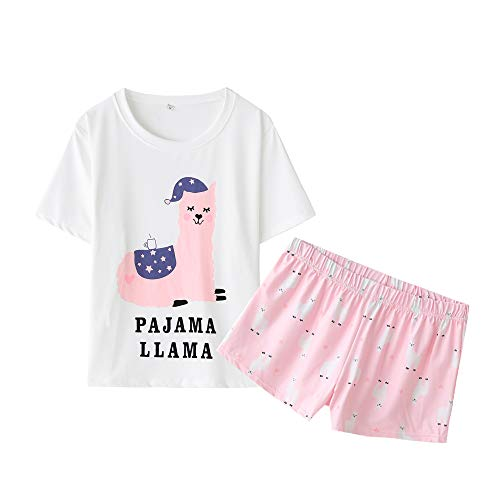 YIJIU Damen-Pyjama-Set, kurzärmelig, mit Alpaka-Aufdruck, Nachtwäsche - Pink - XX-Large