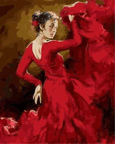 Lege doe-het-zelf schilderen, voor volwassenen, dansers, meisjes, rood, beschilderd, voor beginners, nieuwe schilderkunst, 40 x 50 cm, zonder lijst