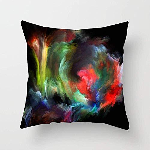 N\A Bunte Palette Wolke Farbfluss Serie Abstrakte Metapher gemacht farbigen kreativen Nebel Traum dynamische Kissenbezug Baumwolle Schlafsofa Kissenbezug Dekoration
