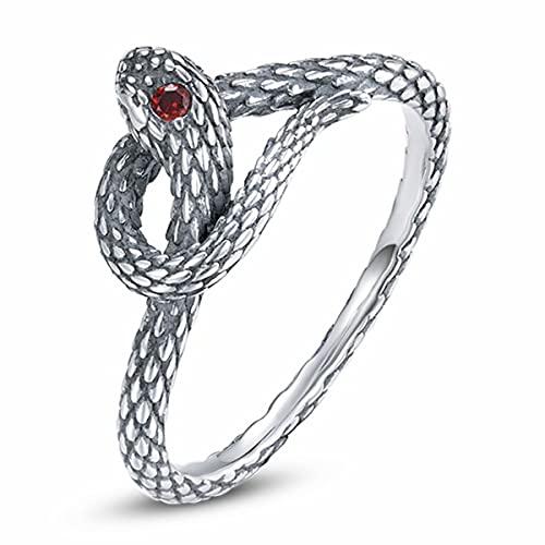 Qings Anello Serpente Aperto Donna Anelli Argento 925 Snake Ring Anello Animale Retrò Midi Dito Dichiarazione Impilabile Taglia 6 per Donna Ragazze