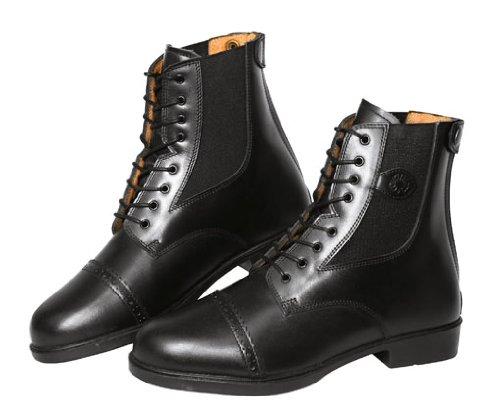 Covalliero 326433 Reitstiefelette Monaco Gr. 38, Glattleder zum Schnüren, schwarz