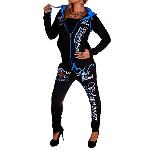 Violento Damen Jogging-Anzug Power   677 (L= versendet XL, Schwarz-Blau)