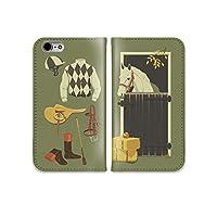 301-sanmaruichi- iPhone8 ケース iPhone8 ケース 手帳型 おしゃれ 競馬 乗馬 馬 グッズ イラスト A シボ加工 高級PUレザー 手帳ケース ベルトなし