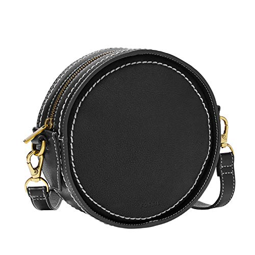 Fossil Women's Palmer Leather Circle Crossbody Handbag, Black