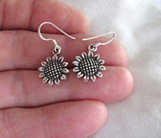 Sterling Silver 17mm Sunflower Dangle Earrings 4363 - Jewelry Accessories Key Chain Bracelet Necklace Pendants
